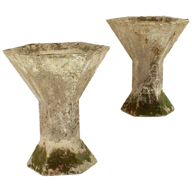 Pair of Unusual Modernist Concrete Planters
