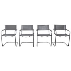 Four Midcentury Bauhaus Style Chrome and Grey Leather Chairs