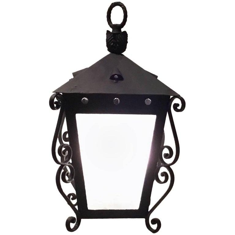 Mizner-style iron hanging lantern, 1960