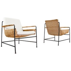 Herta Maria Witzemann Set of Rattan Lounge Chair 1954 by Wilde & Spieth