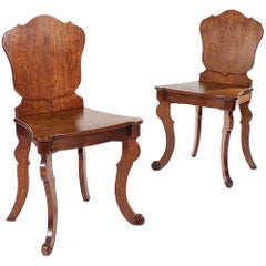 Pair of Unusual George IV Oak Shield Back Hall Chairs