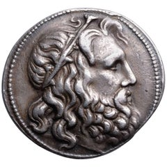 Ancient Greek Silver Coin with head of Poseidon, 227 BC