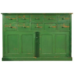 Italian Painted Green Factory Cupboard with Drawers
