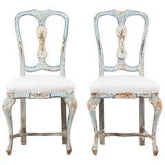 Pair of Painted Italian Chairs, circa 1800