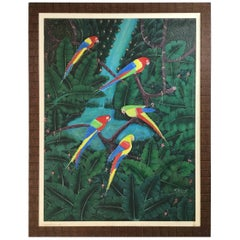Parrots in the Jungle Haitian Oil Painting