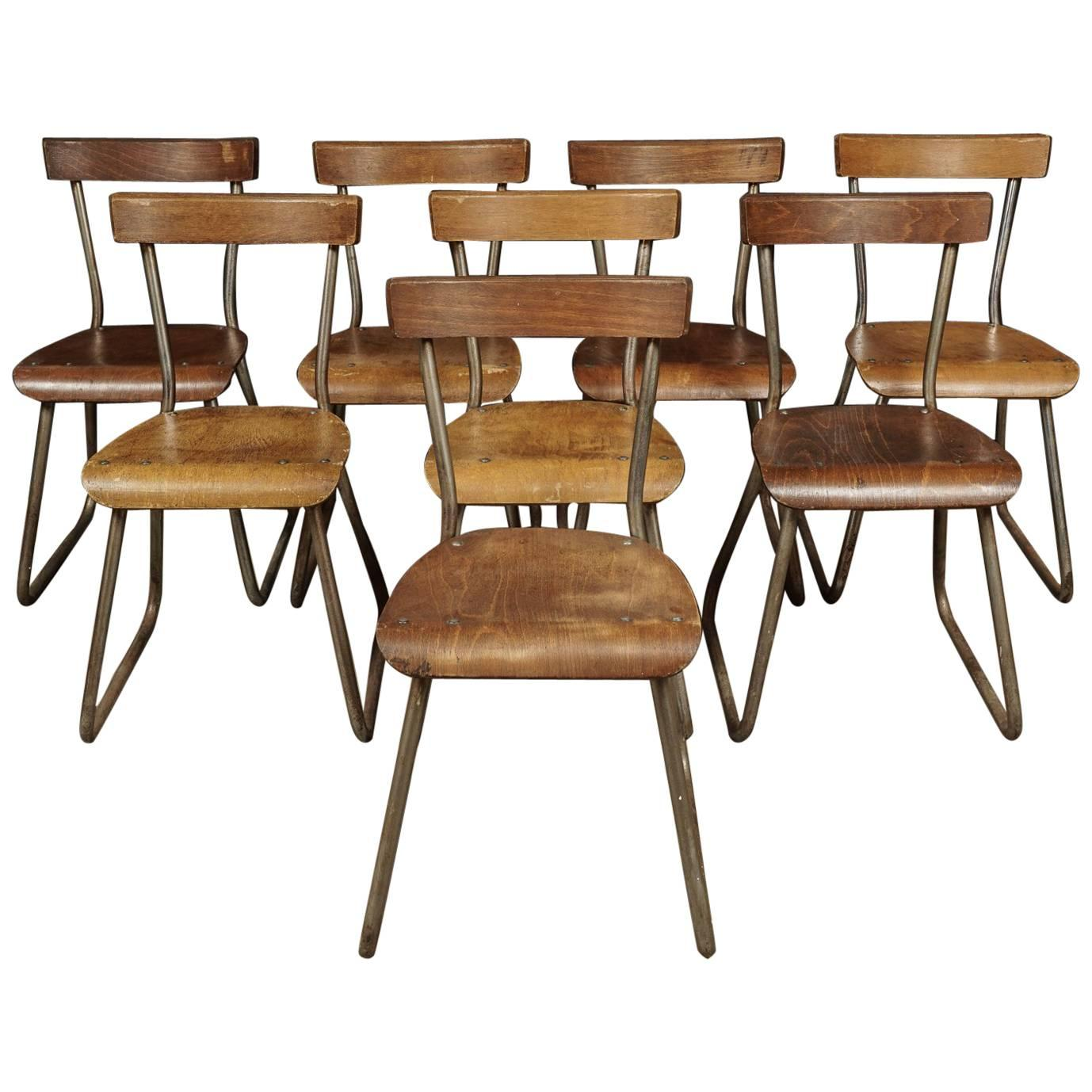 set of eight industrial dining chairs from france circa