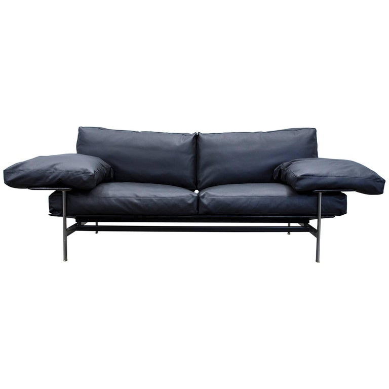 B B Italia Diesis Designer Sofa Leather Black Two Seat Couch Modern For Sale At 1stdibs