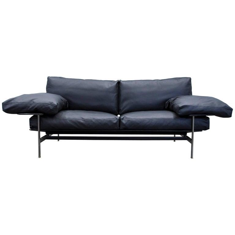 B b italia diesis designer sofa leather black two seat couch modern for sale at 1stdibs B b italia sofa for sale