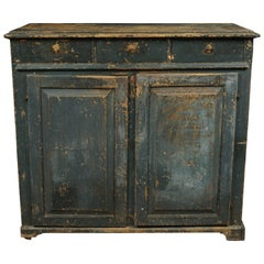 Swedish Sideboard Cabinet in Original Blue Paint, circa 1850
