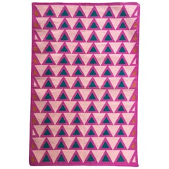 Geometric Maya Candy Pink Handwoven Modern Cotton Rug, Carpet and Durrie