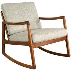 Vintage Midcentury Ole Wanscher for France & Son Denmark Teak Rocking Chair