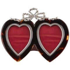 Tortoiseshell and Sterling Silver Heart Photograph Frame Dated London, 1897