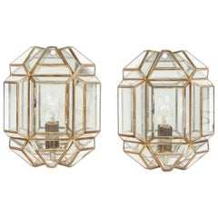 Pair of Brass and Glass Facetted Wall Lights