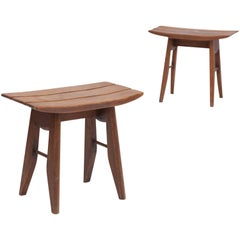 Oak Tabourets by Guillerme & Chambron for Votre Maison