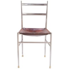 "Gio Ponti Metal ""Superleggera"" Chair with Stitched Italian Leather Seat"