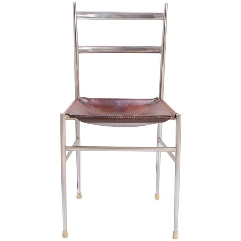 """Gio Ponti Metal """"Superleggera"""" Chair with Stitched Italian Leather Seat For Sale"""