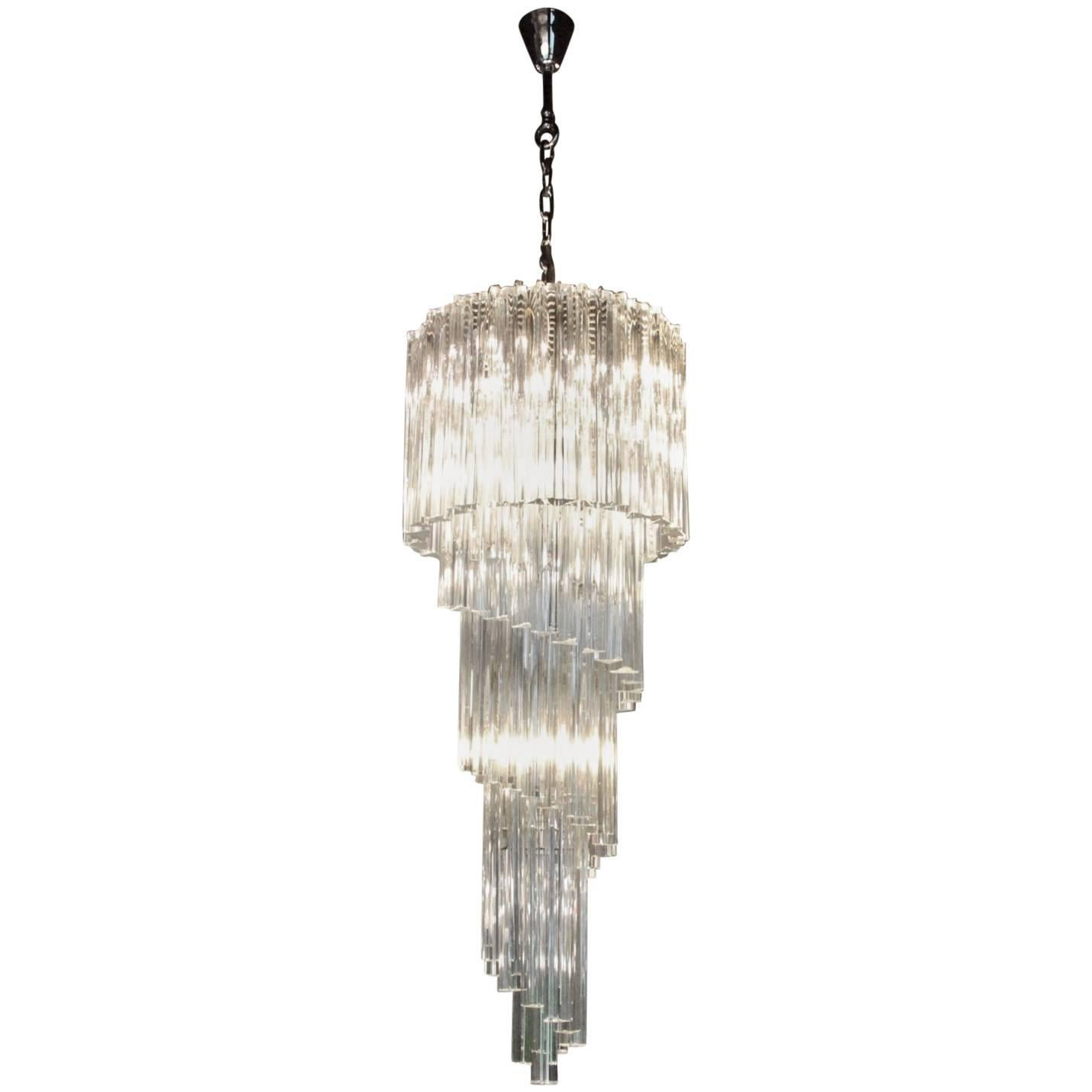 Murano Glass Spiral Chandelier by Venini