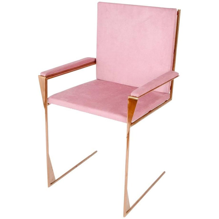 Modern Frame Dining or Occasional Chair in Copper and Cotton Velvet