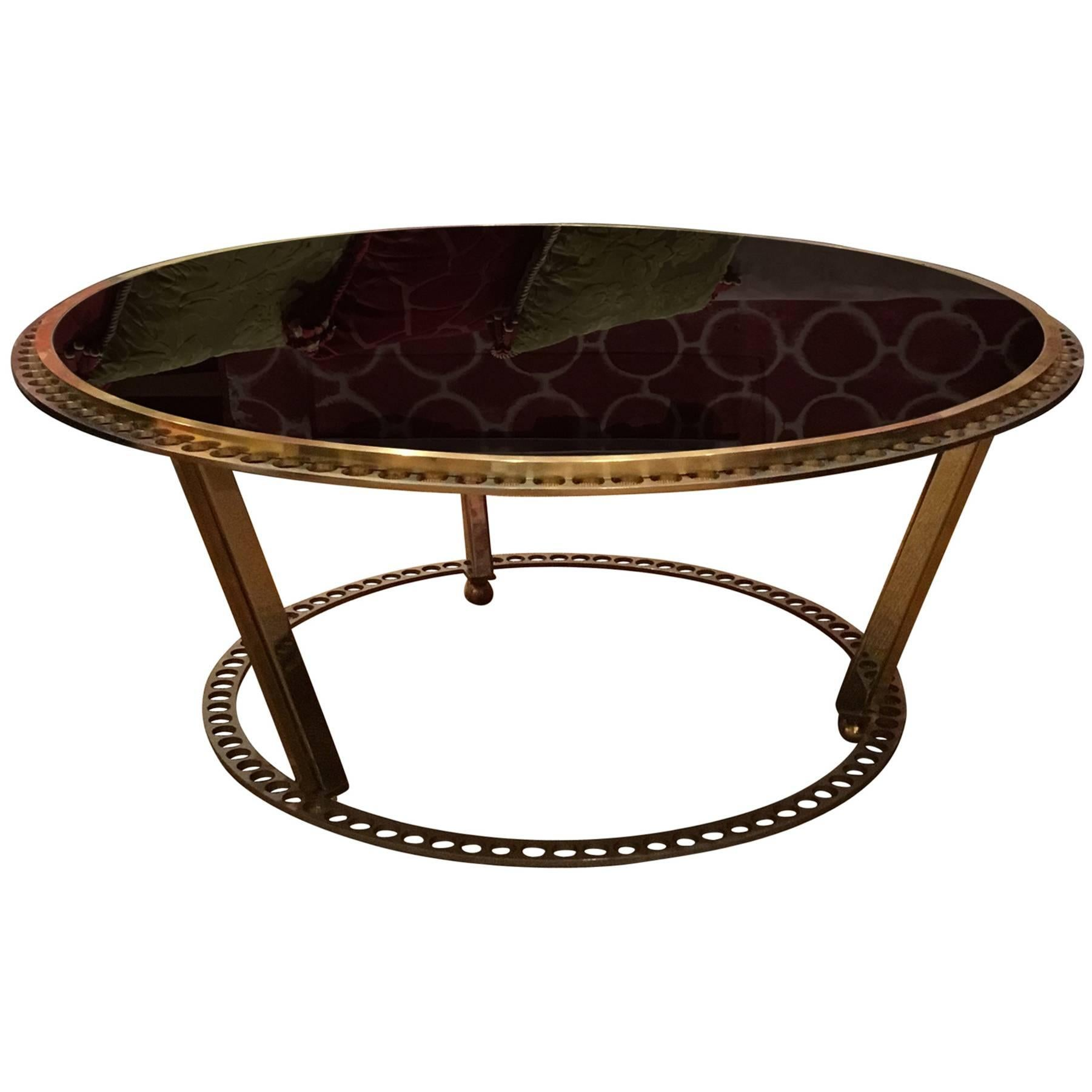 Coffee Table, Brass and Black Glass, made in Italy modern piece