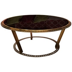 Vintage Coffee Table, Brass and Black Glass, Italy