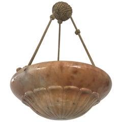 Swedish Art Nouveau Jugendstil Carved Alabaster Pendant Lamp Chandelier