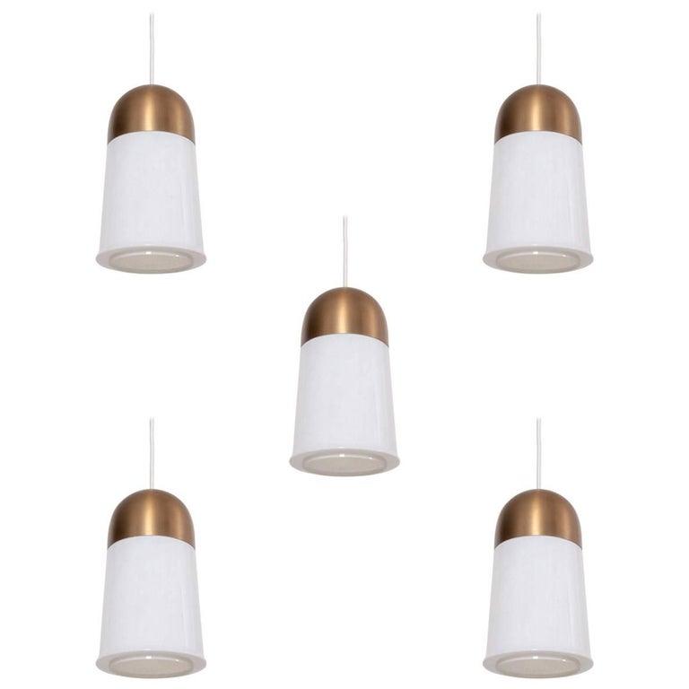 Set of Five Large Limburger Brass and Blown Glass Pendant Lamps