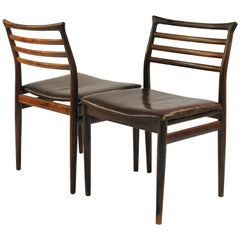 1960s Erling Torvits Set of Six Dining Chairs in Rosewood and Black Leather