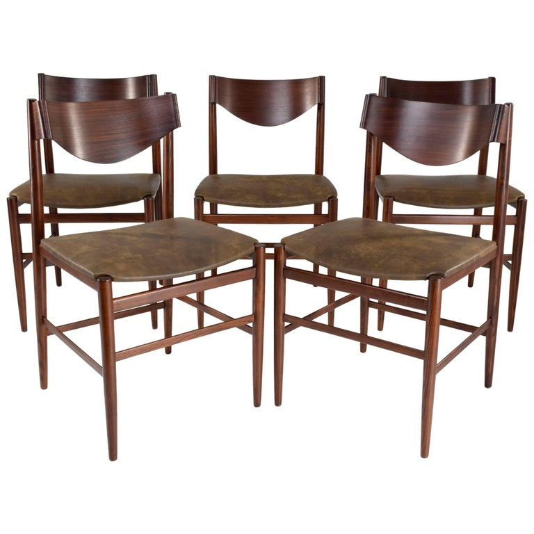 Art Deco  Italian Mid-Century Dining Chairs by Gianfranco Frattini, Set of 5, 1960s  For Sale