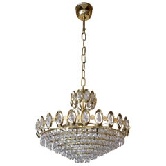 Palwa Chandelier in Gilded Brass and Crystal Glass, 1960s