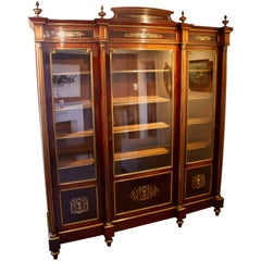 Large 19th Century French Mahogany and Brass Inlaid Bookcase or Display Cabinet