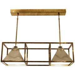 Elegant Brass and Tin Ceiling Lamp