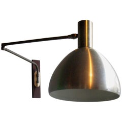 Danish alumminium Adjustable Wall Lamp with wooden holder