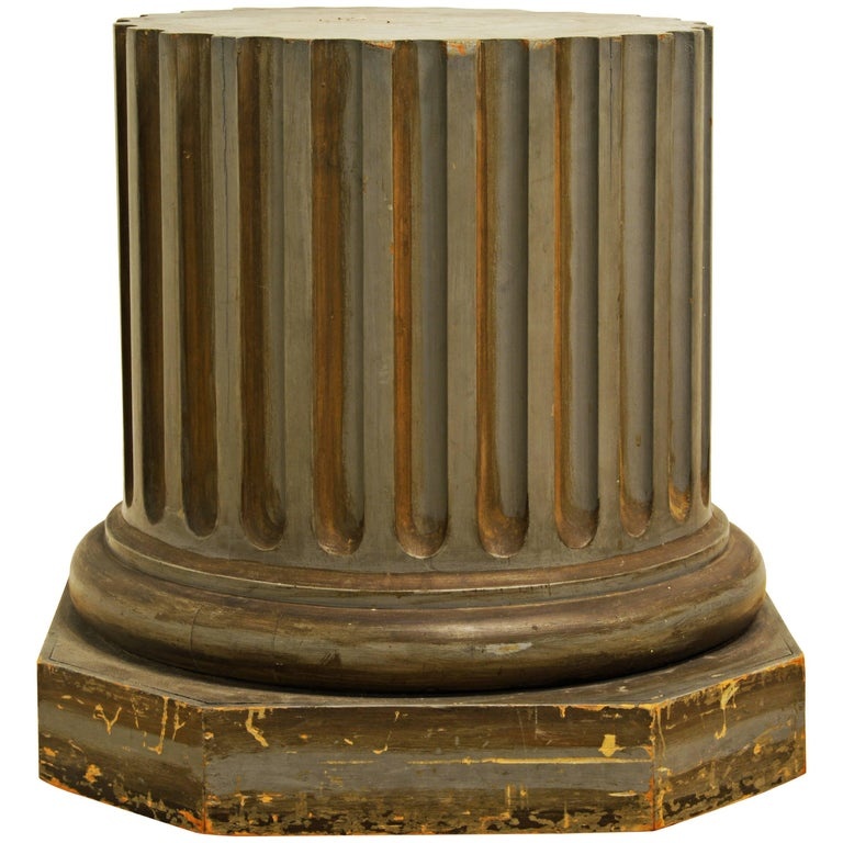 Great Vintage Greco-Roman Style Grey Painted Column Pedestal For Sale