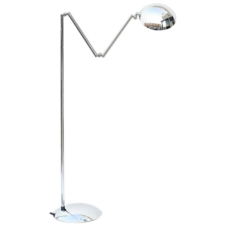 Articulated Chrome Floor Lamp by Herbert H. Schultes