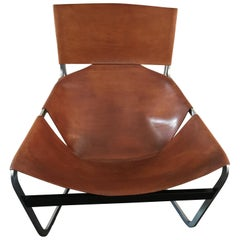 Stunning Original Saddle Leather Pierre Paulin F444 Lounge Chair for Artifort