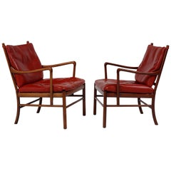 Ole Wanscher Pair of 'Colonial' Armchairs in Red Leather