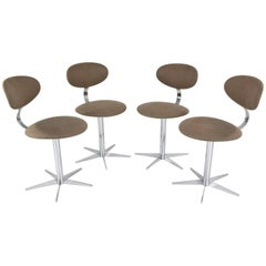 20th Century French Chrome Dining Chairs,  Set of Four, 1970s