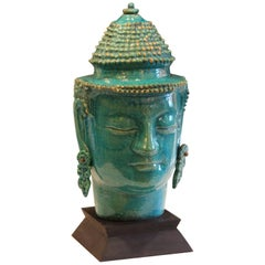 Vintage Italian Raymor Zaccagnini Pottery Large Buddha Head Turquoise Crackle