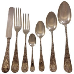 Antique Chased by Gorham Sterling Silver Flatware Set for 16 Service 112 Pcs