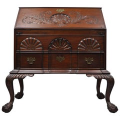 19th Century Chippendale Style Mahogany Blockfront Shell Carved Secretary Desk