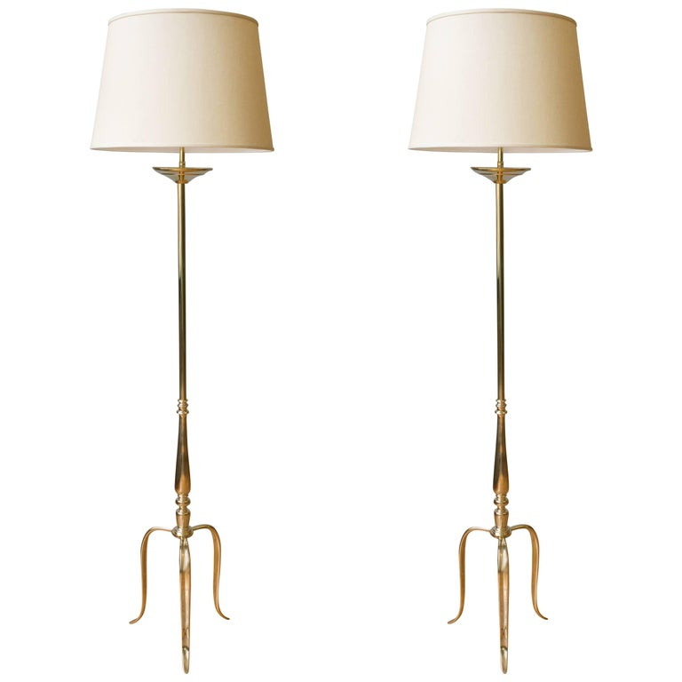 Pair of Brass Floor Lamps with Tripod Bases