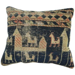 Shabby Chic Tribal Pictorial Caucasian Rug Pillow