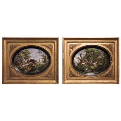 Pair of Framed Hand-Painted Paris Porcelain Hunting Scenes, after N. Desportes