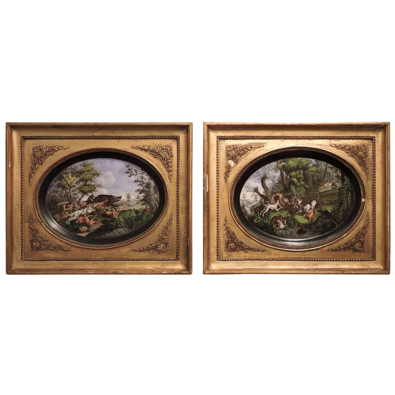 Pair of Framed Hand-Painted Paris Porcelain Hunting Scenes, after N. Desportes For Sale