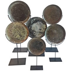 Bronze Thai Mirrors, Early 19th Century, on Stand