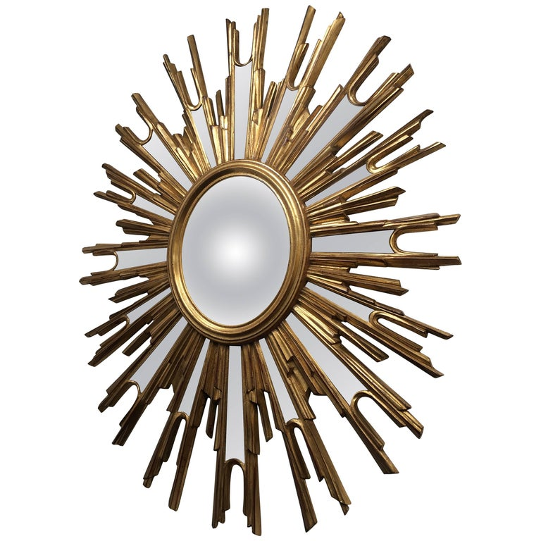 Decorative vintage french convex sunburst mirror for sale for Fancy mirrors for sale