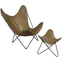 Leather Butterfly Lounge Chair and Ottoman by Hardoy for Knoll
