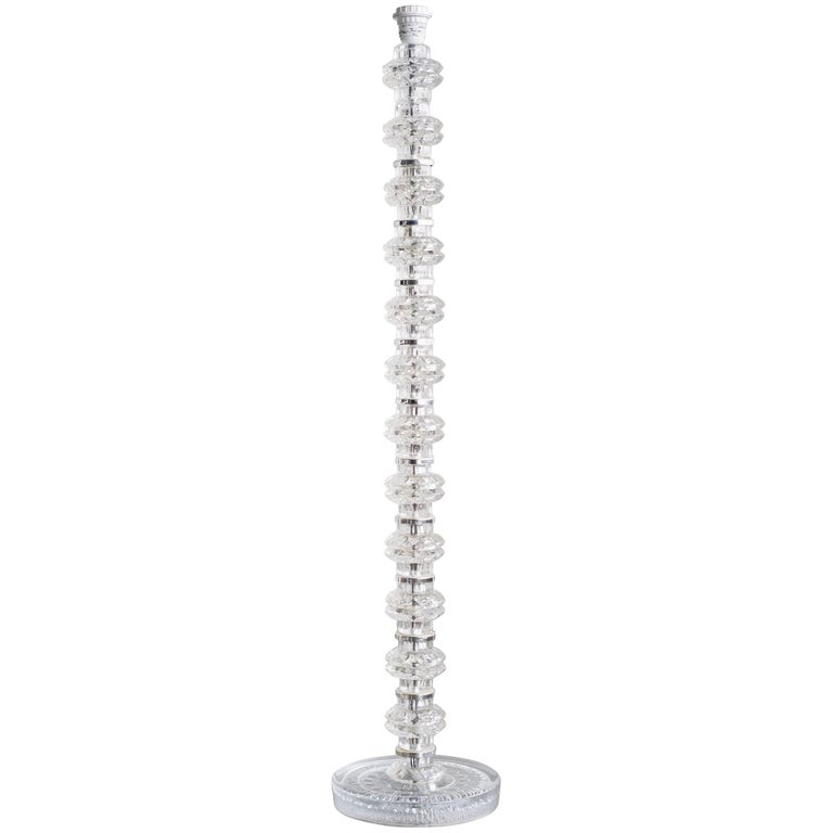 Stacked Chrystal and Chrome Floor Lamp by Carl Fagerlund for Orrefors