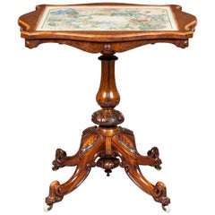 English 19th Century Walnut Center Table with Watercolor Top