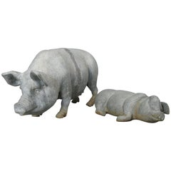 English Lead Garden Pig and Piglet